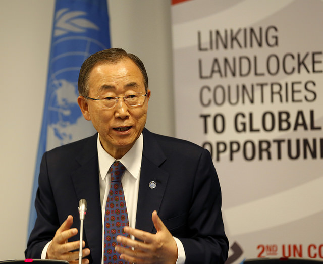 UN Secretary General Ban Ki-moon speaks at the second UN Conference on Land Locked Developing Countries in Vienna this week. Photo courtesy of the Austrian Foreign Ministry flickr account used under a creative commons license.