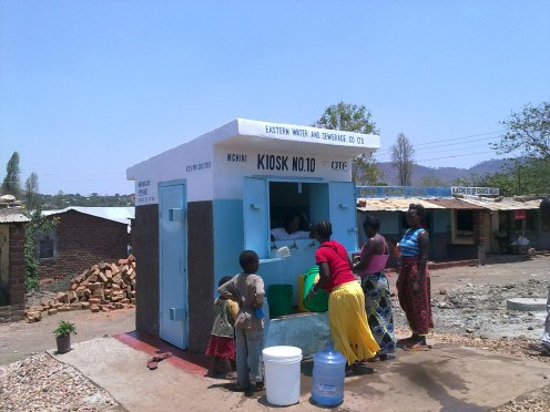 A water kiosk in Chipata, Zambia providing clean and sanitary water.
