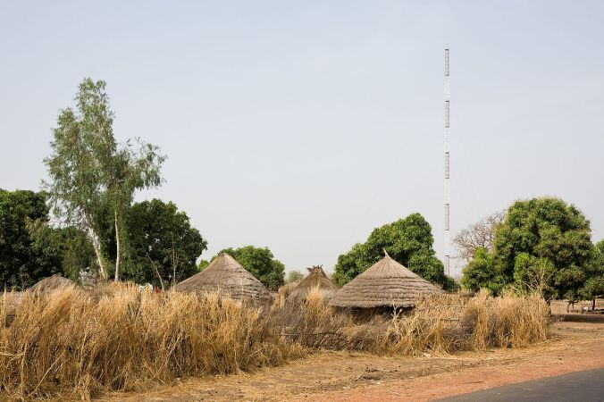 A GSM antenna supporting mobile technology in Gambia.
