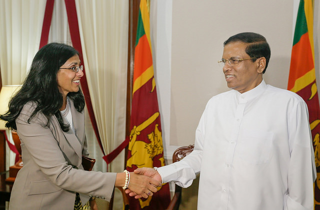 Assistant Secretary of State for South and Central Asia, Mrs. Nisha Biswal, with newly elected President Sirisena