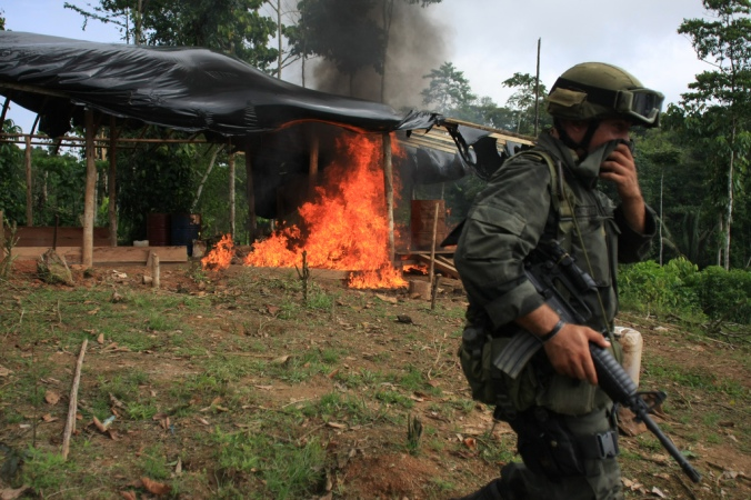Coca field fumigation. Source: Policía Nacional Colombiana