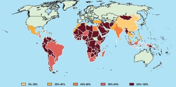 Developing country dependence on commodities, 2012-2013. Map courtesy of UNCTAD State of Commodity Dependence 2014.